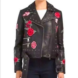 Belle Vere Leather Floral Embroidered Jacket M